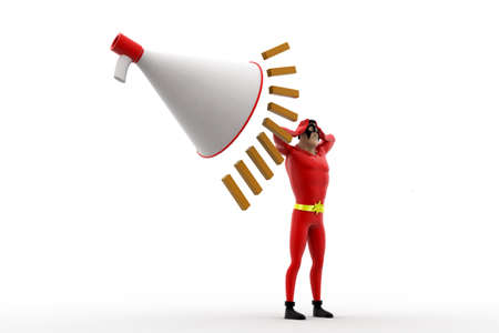 can not: 3d superhero feel headche can not hear loud noise from speaker concept on white background, side angle view Stock Photo
