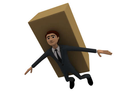 brown box: 3d man stuck under big brown box concept on white background, lower angle view Stock Photo