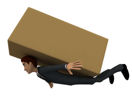 brown box: 3d man stuck under big brown box concept on white background, side angle view Stock Photo