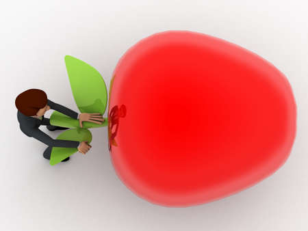 pulling: 3d man try to draw big red apple and pulling leaf concept on white background, top angle view