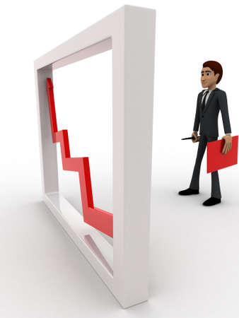 looking at view: 3d man looking at growth graph and with tools concept on white background, side angle view