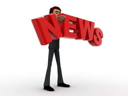 3 dimensions: 3d man with news text in hand concept on white background,  side angle view