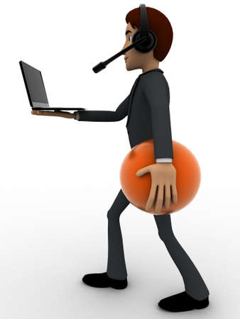 while: 3d man working at call center while walking and working on laptop concpet on white background, side angle view