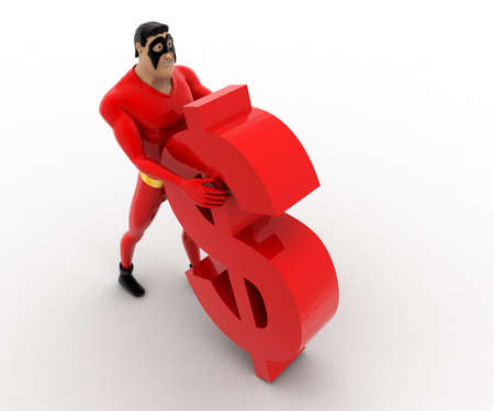 supporting: 3d superhero supporting red dollar symbol concept on white background, top angle view Stock Photo