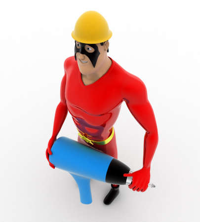 driller: 3d superhero builder with electric driller concept on white background,  top angle view