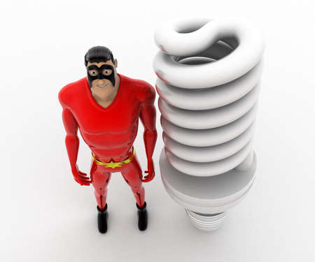 led bulb: 3d superhero with big CFL or LED bulb concept on white background, top angle view