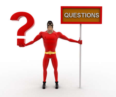 3 dimensions: 3d superhero with question mark in hand and sign board concept on white background, front angle view