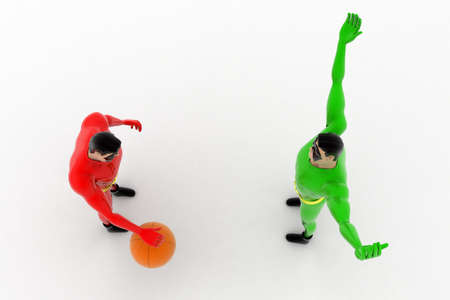 superheros: 3d two superheros playing with ball concept on white background, top angle view