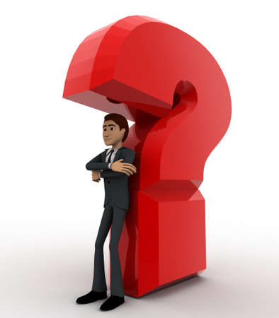 under view: 3d man standing under under question mark concept on white background, side angle view Stock Photo