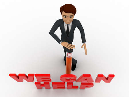 can we help: 3d man with pencil and we can help text concept on white background, top angle view