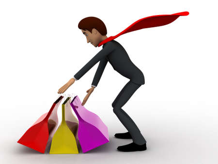 super man: 3d super hero man with many shopping bags concept on white background, side angle view Stock Photo