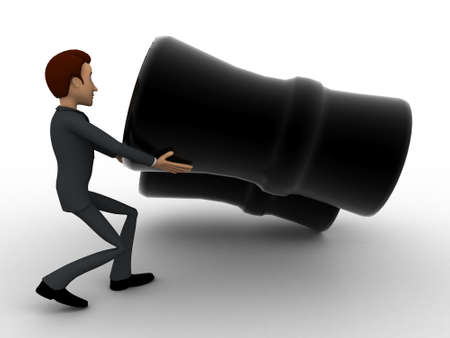 try: 3d man try to lift up black binocular concept on white background, side angle view