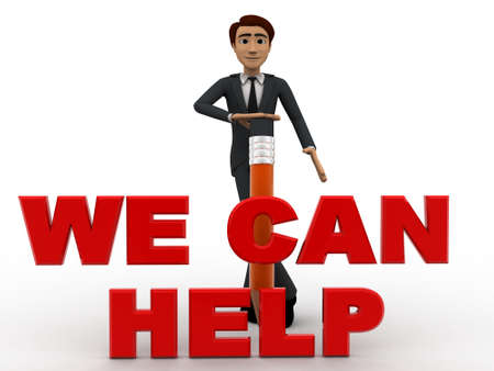 can we help: 3d man with pencil and we can help text concept on white background, front angle view Stock Photo