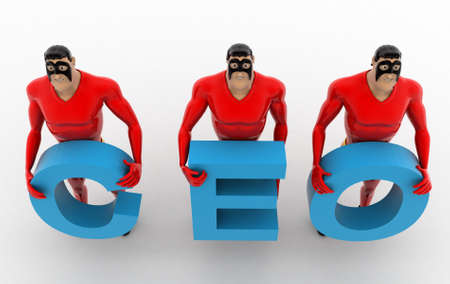 superheros: 3d superheros with CEO text in hand concept on white background, top angle view