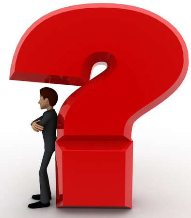 under view: 3d man standing under under question mark concept on white background, front angle view
