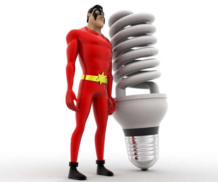 led bulb: 3d superhero with big CFL or LED bulb concept on white background, side angle view