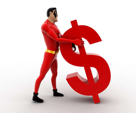 supporting: 3d superhero supporting red dollar symbol concept on white background, front angle view