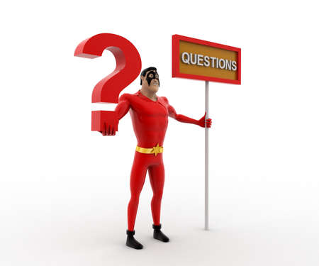 3 dimensions: 3d superhero with question mark in hand and sign board concept on white background, side angle view Stock Photo