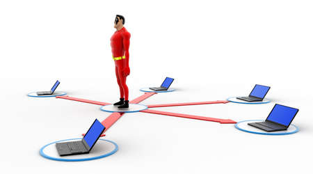 three dimensions: 3d superhero in center of computer network concept on white background, side angle view Stock Photo