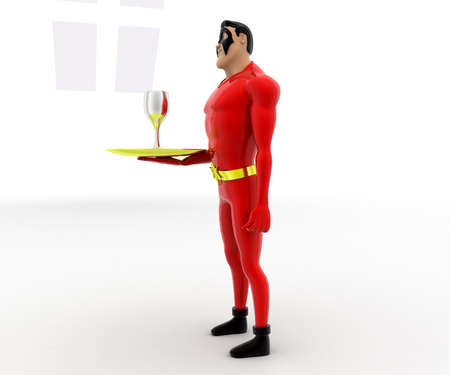 side dish: 3d superhero with dish and wine glass on it concept on white background, side angle view