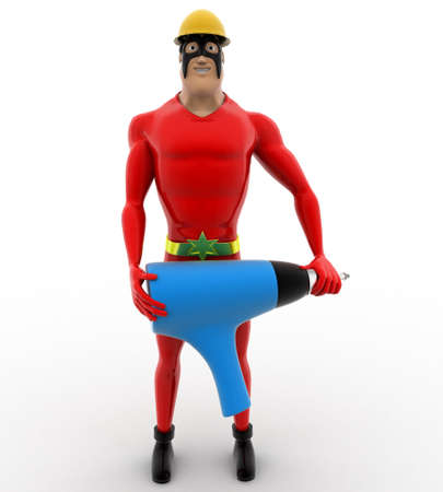 driller: 3d superhero builder with electric driller concept on white background, front angle view