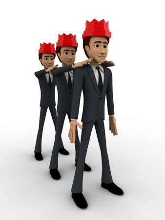 3 dimensions: 3d three men with red crown on head concept on white background, front angle view