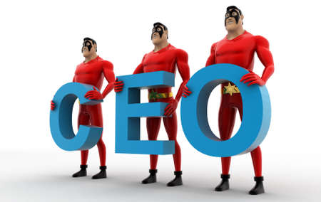 ceo: 3d superheros with CEO text in hand concept on white background, side angle view