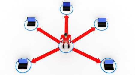 3 dimensions: 3d superhero in center of computer network concept on white background, top angle view