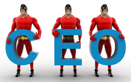 ceo: 3d superheros with CEO text in hand concept on white background, front angle view