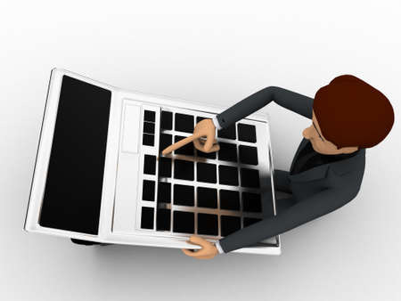 3 dimensions: 3d man working and calculate on calculator concept on white background, top angle view Stock Photo
