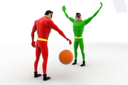 superheros: 3d two superheros playing with ball concept on white background, side angle view Stock Photo