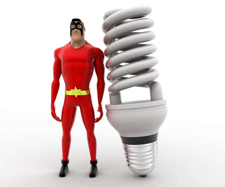 angle: 3d superhero with big CFL or LED bulb concept on white background, front angle view