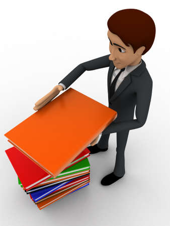 top angle view: 3d man with pile of books concept on white background,  top  angle view Foto de archivo