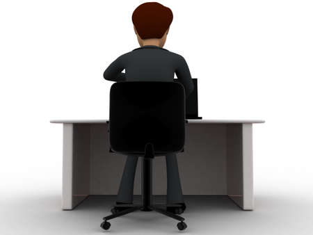 back view man: 3d man working in office and drinking coffee concept on white background, back angle view Stock Photo