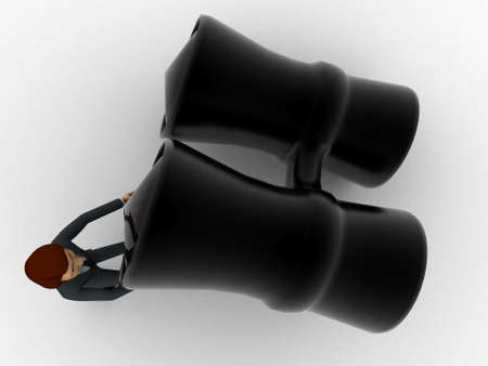 lift up: 3d man try to lift up black binocular concept on white background, top angle view Stock Photo