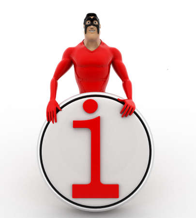 3 dimensions: 3d superhero with info sign board concept on white background, front angle view