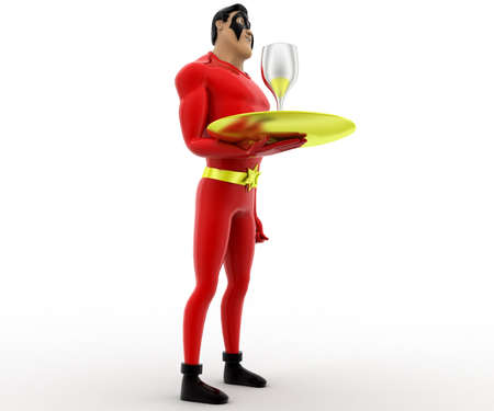 three dimensions: 3d superhero with dish and wine glass on it concept on white background, low angle view Stock Photo