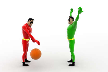 3 dimensions: 3d two superheros playing with ball concept on white background, front angle view