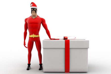 3 dimensions: 3d superhero wearing hat of santa and with big gift box concept on white background, front angle view Stock Photo
