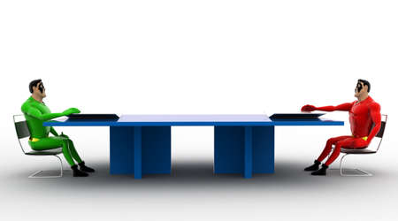 between: 3d superheros having conversation in between a table concept on white isolated background , side angle view