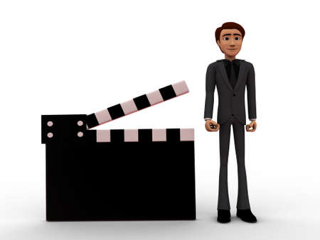 clap: 3d man presenting film clap concept on white isolated background , front angle view Stock Photo