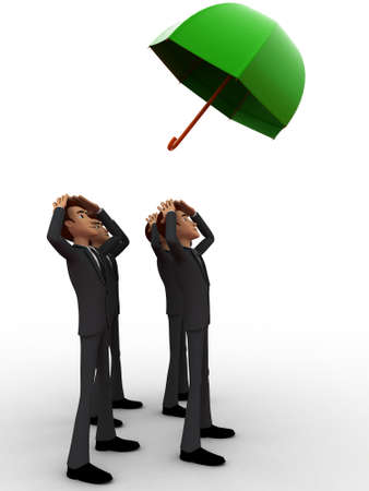 man flying: 3d group of man looking towards a flying umbrella concept on white isolated background , side angle view Stock Photo