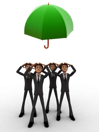 towards: 3d group of man looking towards a flying umbrella concept on white isolated background , front angle view