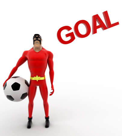 near: 3d superhero holding football and goal text  near by concept on white isolated background , front angle view