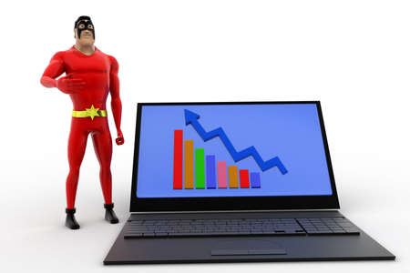 statics: 3d superhero presenting laptop with graph statics concept on white isolated background , front angle view Stock Photo