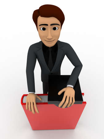 educated: 3d graduated  educated man concept on white isolated background  , top angle view