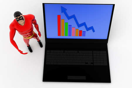 statics: 3d superhero presenting laptop with graph statics concept on white isolated background , top angle view