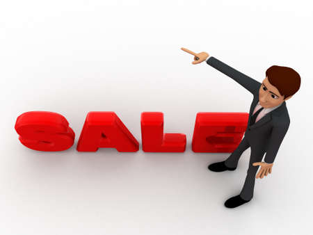 towards: 3d man pointing towards sale text concept on white isolated background  , top angle view