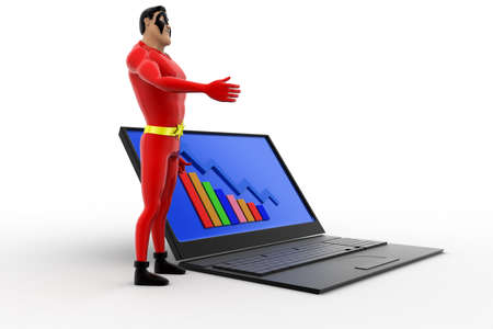 statics: 3d superhero presenting laptop with graph statics concept on white isolated background ,  side angle view Stock Photo