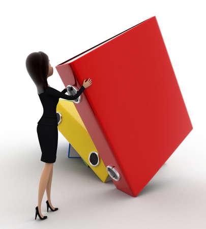 arrange: 3d woman arrange big colouful files concept on white background, side angle view Stock Photo